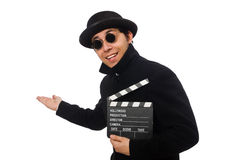 Young man with clapper-board isolated on white Royalty Free Stock Images