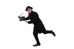 Young man with clapper-board isolated on the white Royalty Free Stock Image