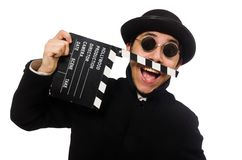 Young man with clapper-board isolated on the white Stock Images