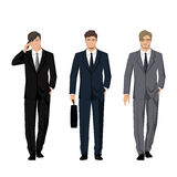 Young man in a classic elegant suit. Active, successful businessman. Vector Stock Photo