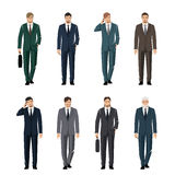 Young man in a classic elegant suit. Active, successful businessman. Vector set Royalty Free Stock Images