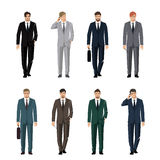 Young man in a classic elegant suit. Active, successful businessman. Vector set Stock Image