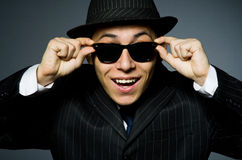 Young man in classic striped costume and hat Stock Photography