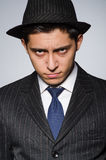 Young man in classic striped costume and hat Royalty Free Stock Images