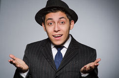 Young man in classic striped costume and hat Royalty Free Stock Photo