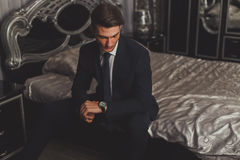 A young man in a classic suit and tie. Stock Photo