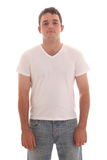 Young man in a clean t-shirt. Young man in a blank t-shirt ready to recieve your text or design stock images