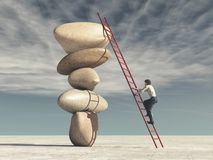 Young man climb a ladder. Supported by stones in balance - meditation stones. This is a 3d render illustration Royalty Free Stock Images