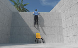 Young man climbed a concrete wal Royalty Free Stock Image