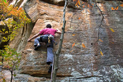 Young man climbing. A route in Red River Gorge, Kentucky Royalty Free Stock Images