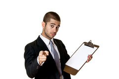 Young Man with Clipboard. Young Business Man with Clipboard Stock Photography