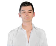 Young man closed eyes Royalty Free Stock Photography