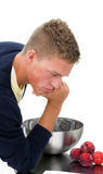 Young man clueless in kitchen 1 Stock Photo