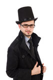 The young man in coat and hat isolated on white Royalty Free Stock Photos