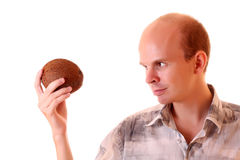 Young man with coconut Royalty Free Stock Photo
