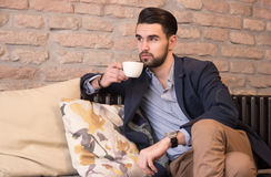 Young man coffee bar drinking cup espresso Stock Photo