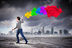 Young man and colour splash Royalty Free Stock Image