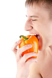 Young man with come fruit Royalty Free Stock Photo