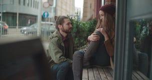 Young man comforting sad woman. stock video footage