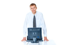 young man with a computer Stock Photo