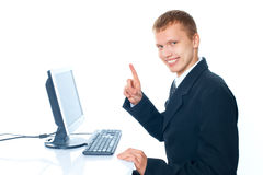 young man with a computer stock photos