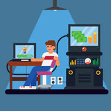 Young man with computer - money and idea appearing from the screen. Vector flat illustration Stock Image