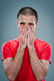 Young Man with Concerned Expression Stock Photography