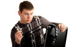 Young man connects the power cord Stock Photo