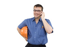 Young man with a construction helmet Stock Images