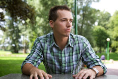 Young man contemplating Royalty Free Stock Image