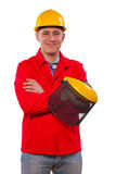 A young man contractor isolated Stock Image