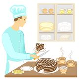 A young man cook prepares an exquisite sweet table. Baked a chocolate cake and cuts pieces, puts a cup of hot tea coffee . On the vector illustration