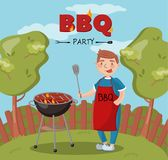 Young man cooking barbecue on the backyard n summer vacation, BBQ party vector Illustration with flaming grill vector illustration