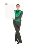 Young man in costume for irish dance with empty banner. Isolated Stock Photo
