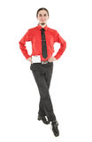 Young man in costume for irish dance isolated. On white Stock Photos