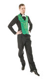 Young man in costume for irish dance isolated. On white Royalty Free Stock Image