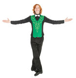 Young man in costume for irish dance isolated. On white Stock Photo
