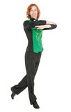 Young man in costume for irish dance isolated. On white Royalty Free Stock Photos