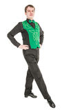 Young man in costume for irish dance isolated. On white Stock Photography
