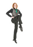 Young man in costume for irish dance isolated. On white Stock Images