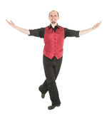 Young man in costume for irish dance isolated. On white Royalty Free Stock Photo