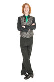 Young man in costume for irish dance isolated. On white Royalty Free Stock Photography