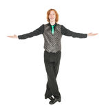 Young man in costume for irish dance isolated. On white Stock Image