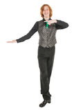 Young man in costume for irish dance showing on something. Isolated Royalty Free Stock Photos