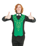 Young man in costume for irish dance showing thumbs up. Isolated Stock Photo