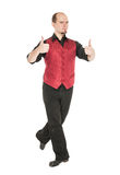 Young man in costume for irish dance showing thumbs up. Isolated Royalty Free Stock Photo