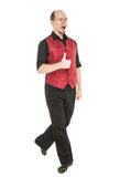 Young man in costume for irish dance showing thumbs up. Isolated Stock Photos