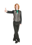 Young man in costume for irish dance showing thumbs up. Isolated Royalty Free Stock Images