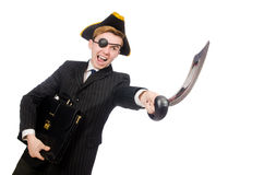 Young man in costume with pirate hat isolated on Stock Images