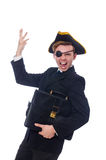 Young man in costume with pirate hat isolated on Stock Photos
